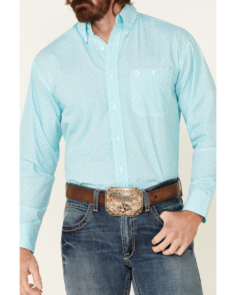 George Strait By Wrangler Men's White Geo Print Long Sleeve Button-Down Western Shirt - Tall, White, hi-res