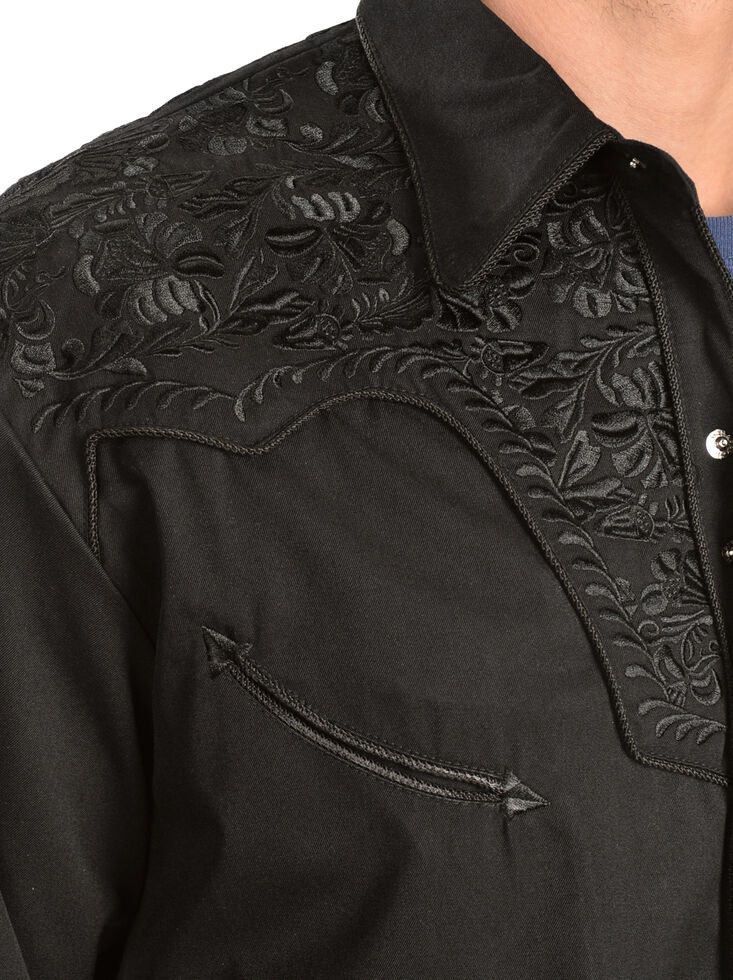 Scully Men's Black Floral Embroidered Retro Long Sleeve Western Shirt, Jet Black, hi-res