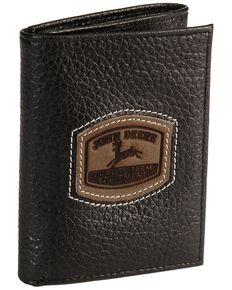 John Deere Tri-Fold Leather Wallet, Black, hi-res