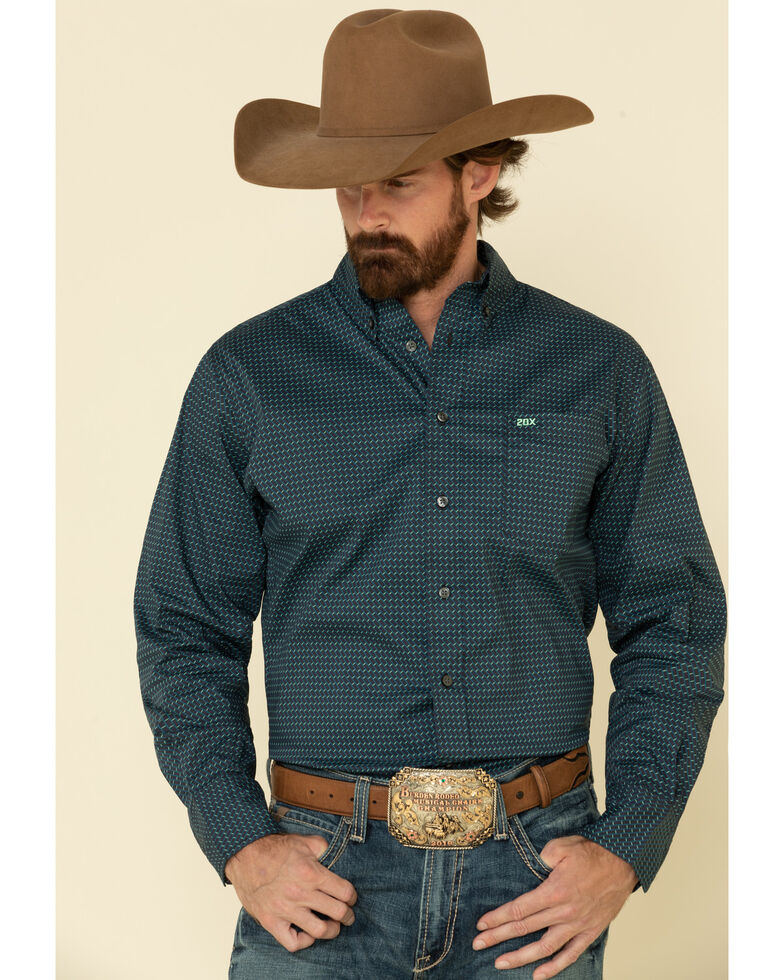 Wrangler 20X Men's Competition Black Small Geo Print Long Sleeve Western Shirt , Black, hi-res