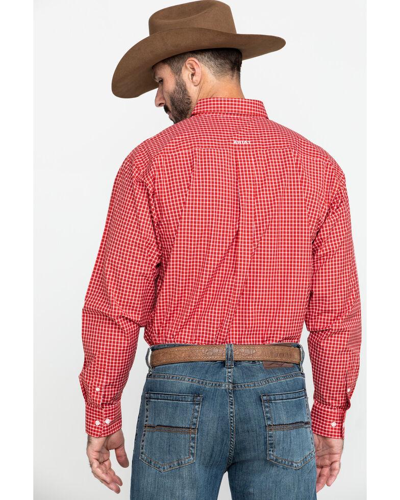 Ariat Men's Newport Small Plaid Long Sleeve Western Shirt - Tall , Red, hi-res