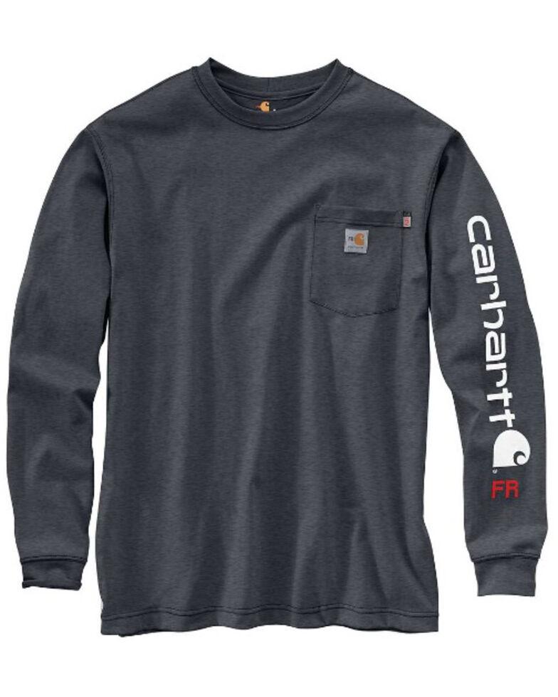 Carhartt Men's Granite M-FR Midweight Signature Logo Long Sleeve Work Shirt - Tall, Grey, hi-res