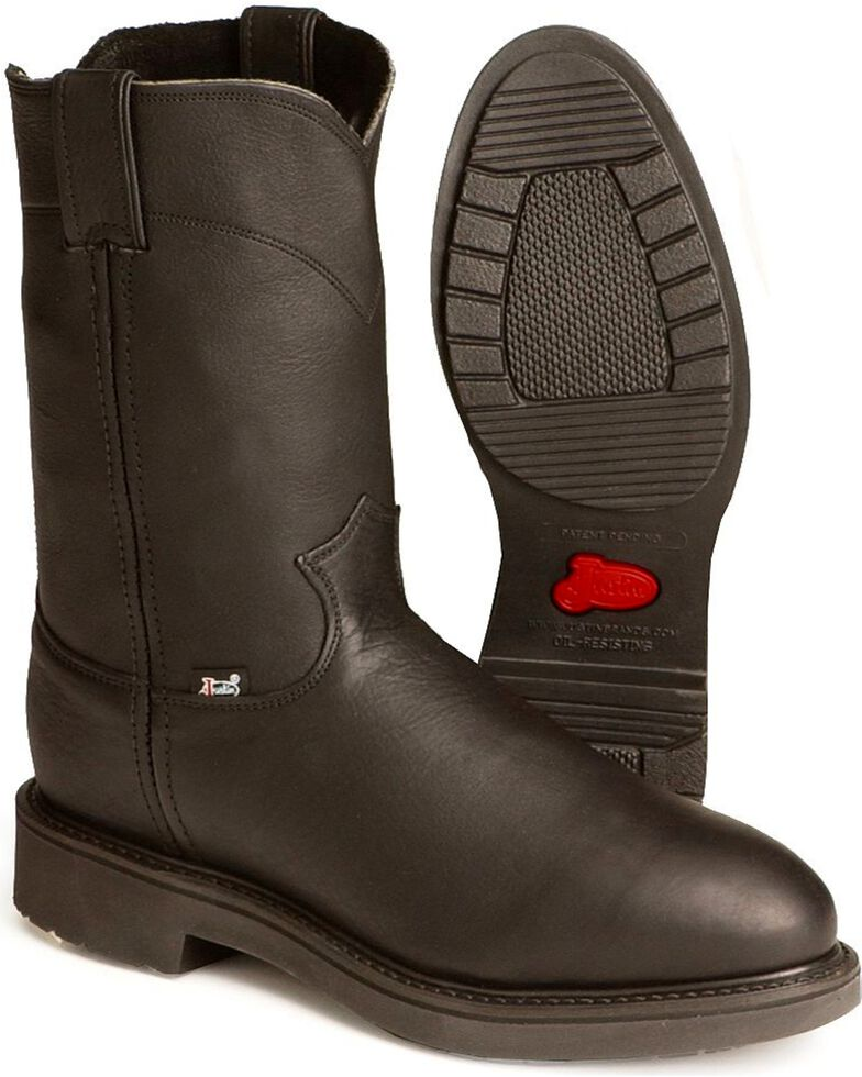 Justin Men's Conductor Electrical Hazard Pull-On Work Boots - Soft Toe, Black, hi-res