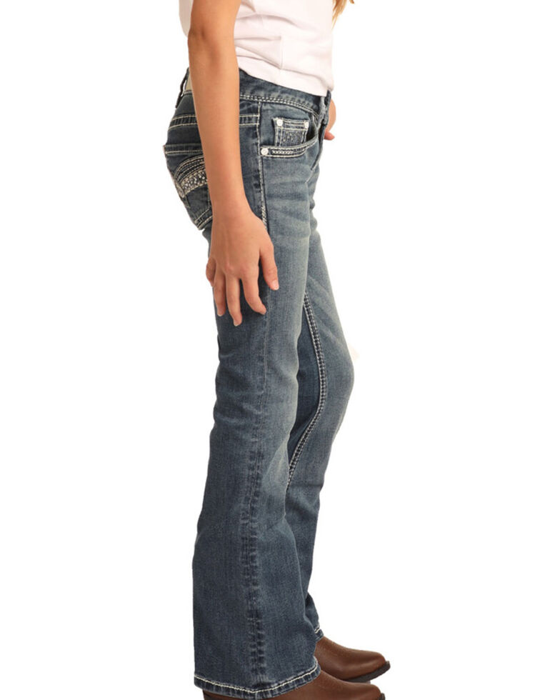 Rock & Roll Denim Girls' Medium Scroll Bootcut Jeans, Blue, hi-res