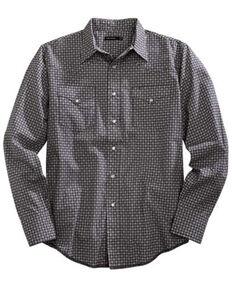 Tin Haul Men's Aztec Mini Geo Print Long Sleeve Western Shirt , Grey, hi-res