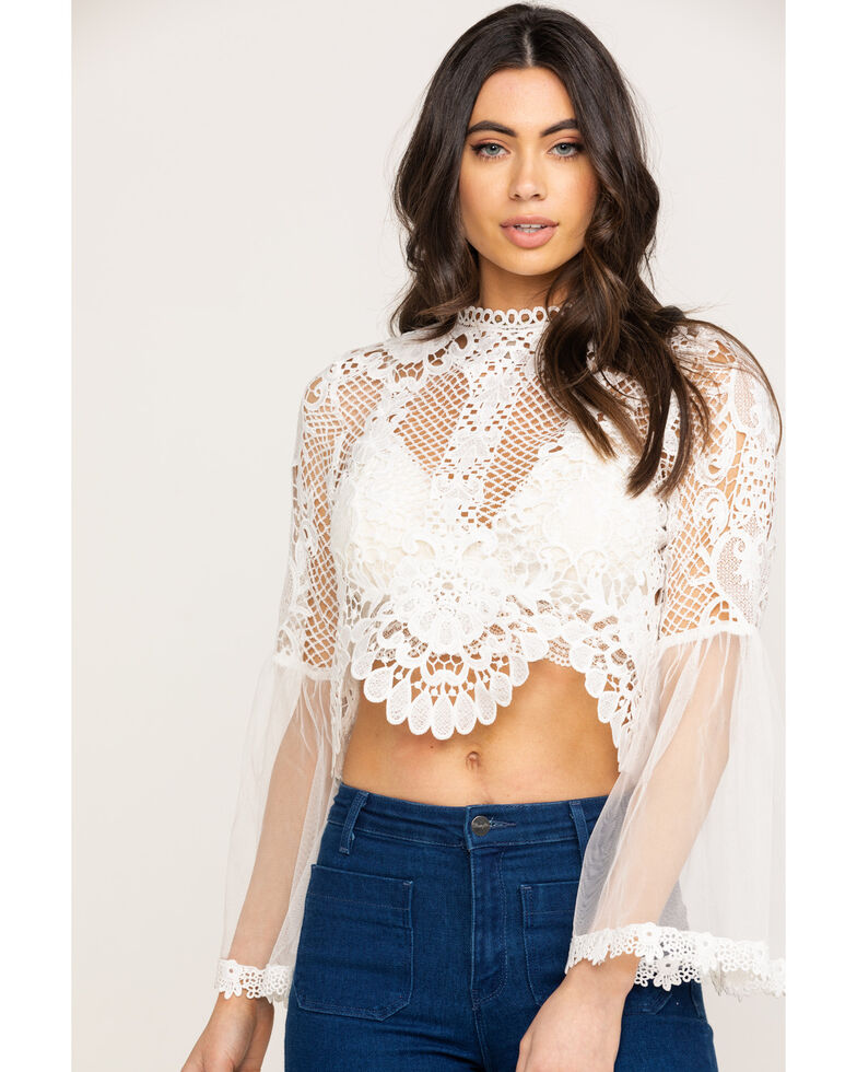 Flying Tomato Women's Crochet Mesh Crop Top, White, hi-res