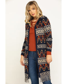 Shyanne Women's Rust Hooded Aztec Sweater Cardigan, Rust Copper, hi-res