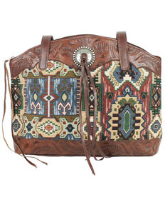 American West Women's Bella Beau Hang Woven Half Zip Tote Bag, Brown, hi-res