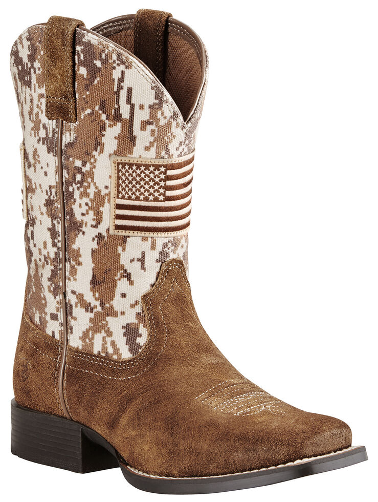 Ariat Youth Boys' Brown Patriot Boots - Wide Square Toe , Brown, hi-res
