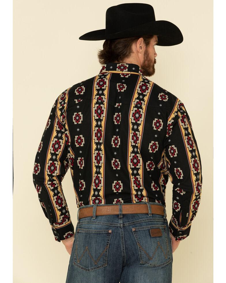 Wrangler Silver Edition Men's Black Aztec Checotah Striped Long Sleeve Western Shirt , Black, hi-res