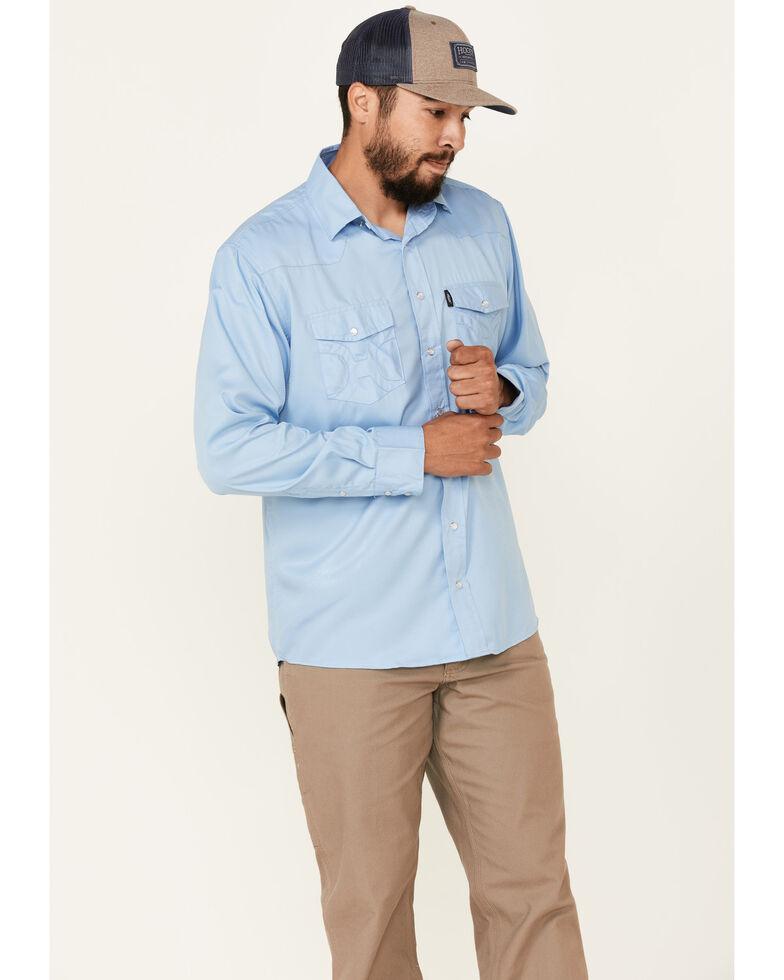 HOOey Men's Solid Blue Habitat Sol Long Sleeve Snap Western Shirt , Blue, hi-res