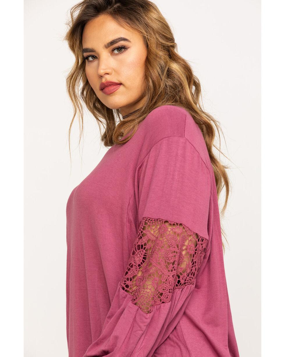 Eyeshadow Women's Lace Inset Long Sleeve Top - Plus , Mauve, hi-res