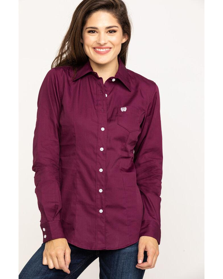 Cinch Women's Burgundy Button Down Long Sleeve Western Shirt , Burgundy, hi-res