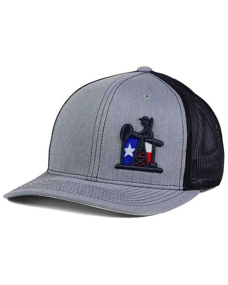 Oil Field Hats Men's Grey PJ Cowboy Texas Flag Mesh-Back Ball Cap , Grey, hi-res