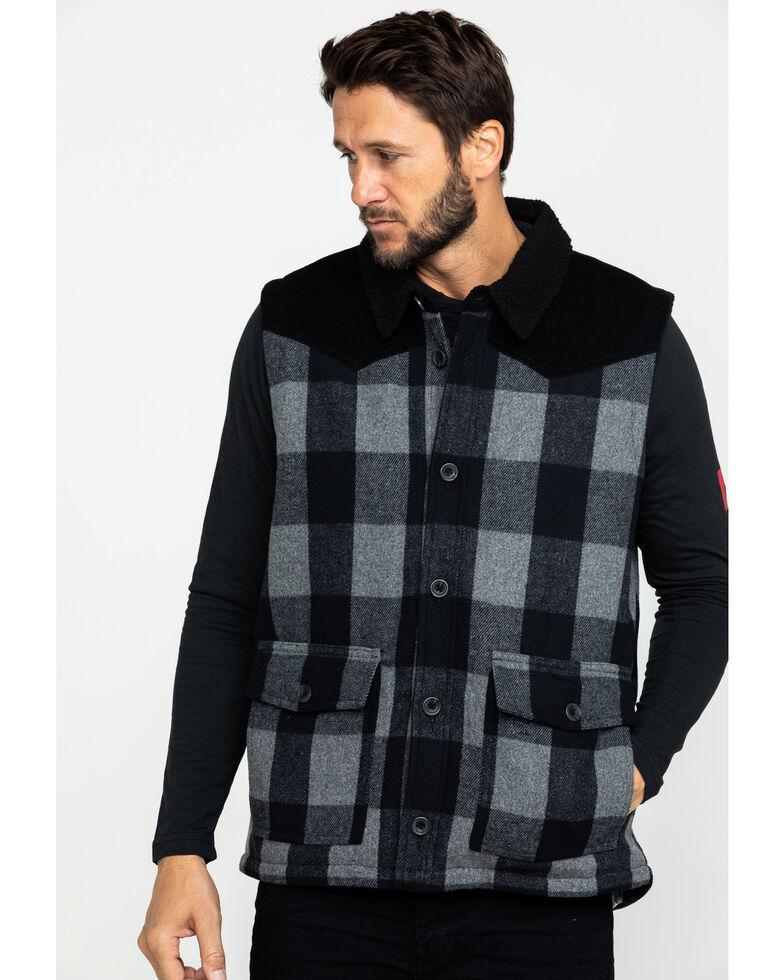 Moonshine Spirit Men's Countryman Buffalo Check Plaid Corduroy Vest , Black, hi-res