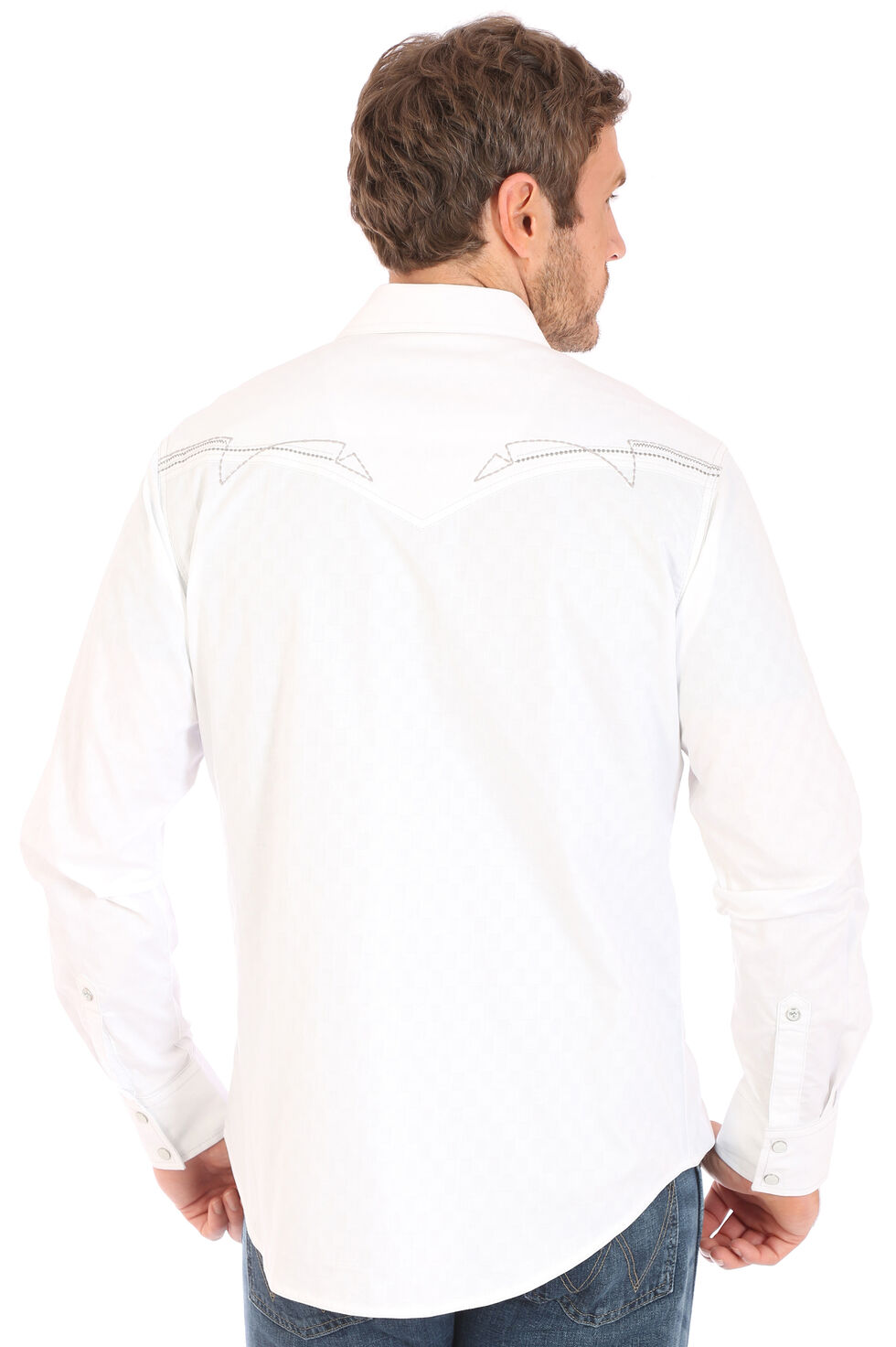 Wrangler Men's Rock 47 White Embroidered Stitch Long Sleeve Snap Shirt, , hi-res
