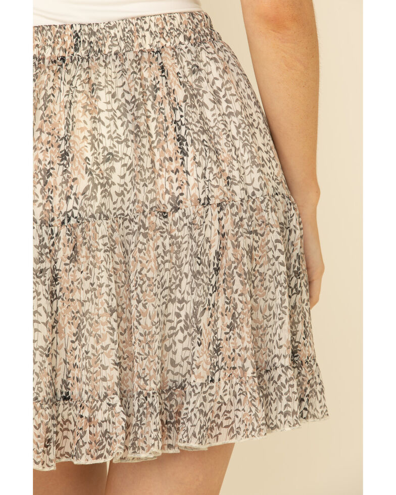 By Together Women's Ivory Floral Print Skirt, Ivory, hi-res