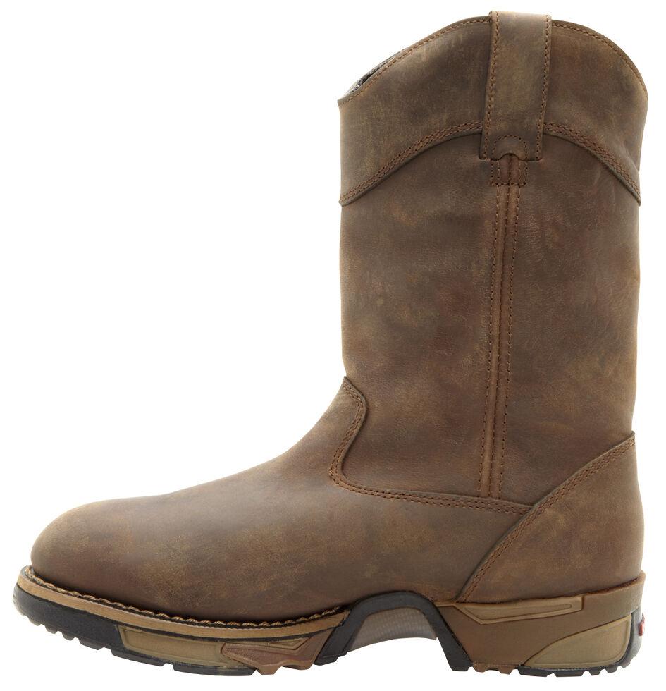 Rocky Aztec Waterproof Wellington Work Boots - Round Toe, Tan, hi-res