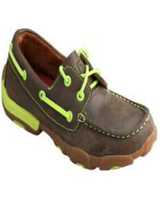 Twisted X Boy's Boat Shoe Driving Moc, Brown, hi-res