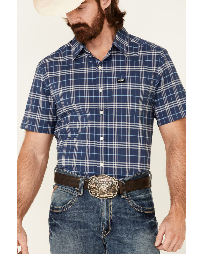 Kimes Ranch Men's Navy Pinhurst Large Plaid Coolmax Short Sleeve Button-Down Western Shirt , Navy, hi-res