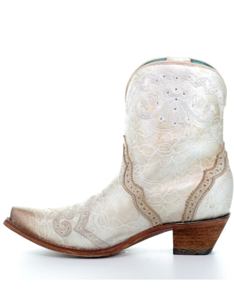 Corral Women's Bone Embroidery & Swarovski Fashion Booties - Snip Toe, Ivory, hi-res