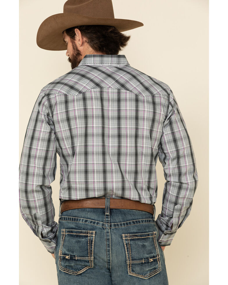 Wrangler Men's Fashion Snap Med Grey Plaid Long Sleeve Western Shirt , Grey, hi-res