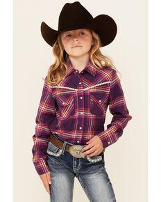 Shyanne Girls Dark Purple Plaid Embroidered Long Sleeve Snap Western Flannel Shirt, Purple, hi-res