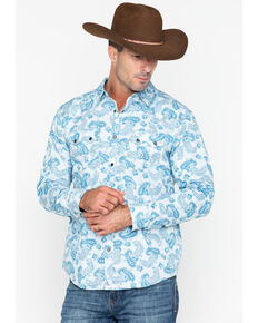 Cody James Men's Hootenanny Paisley Plaid Long Sleeve Western Shirt , Blue/white, hi-res