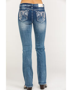Grace in LA Women's Medium Wash Paisley Bootcut Jeans, Blue, hi-res