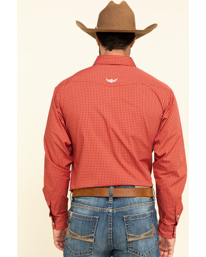 Ariat Men's Relentess Systematic Stretch Small Plaid Long Sleeve Western Shirt , Red, hi-res