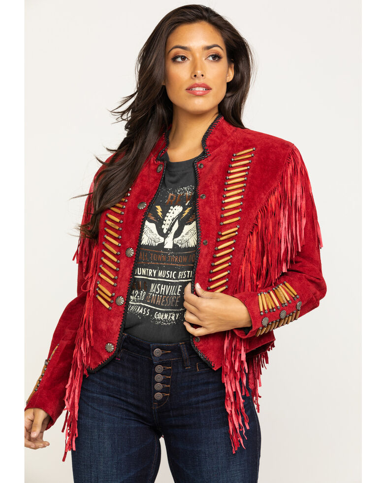 Cripple Creek Women's Red Beaded Suede Fringe Military Jacket , Red, hi-res