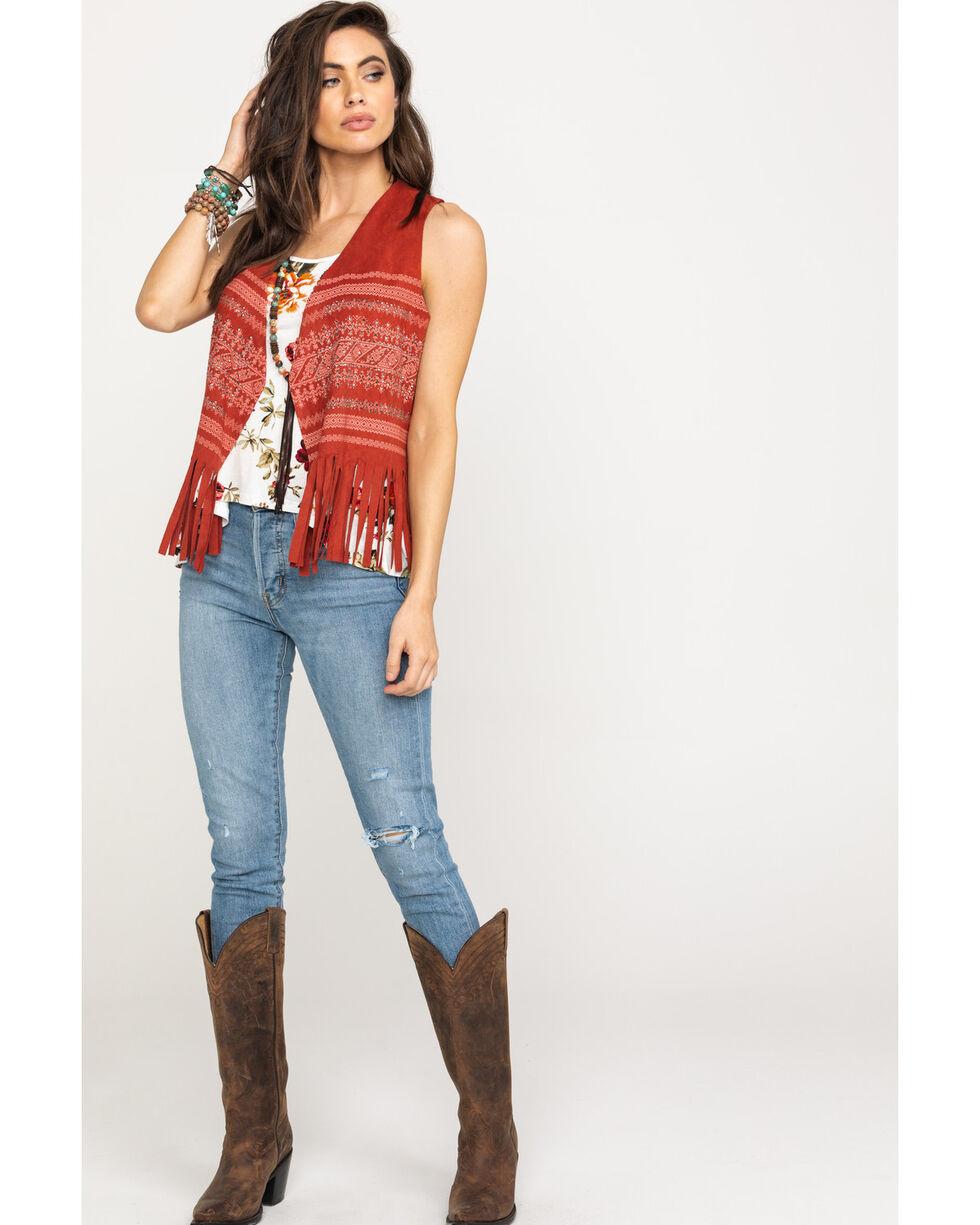 Vocal Women's Bling Print Fringe Short Vest, Rust Copper, hi-res