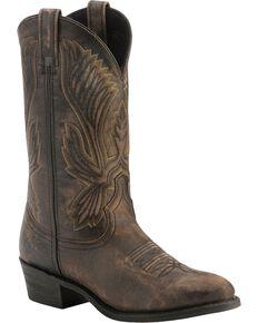 Laredo Crackle Goatskin Cowboy Boots - Round Toe, Black, hi-res