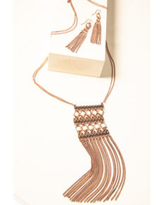 Shyanne Women's Desert Dreams Copper Square Fringe Jewelry Set , Rust Copper, hi-res