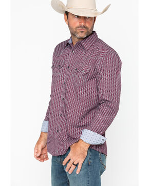 Moonshine Spirit Men's Tribe Long Sleeve Western Shirt, Maroon, hi-res