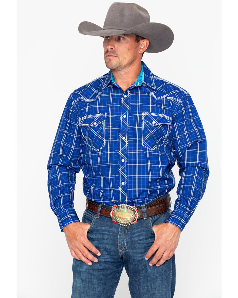 Panhandle Men's Rough Stock Desco Vintage Plaid Long Sleeve Western Shirt , Navy, hi-res