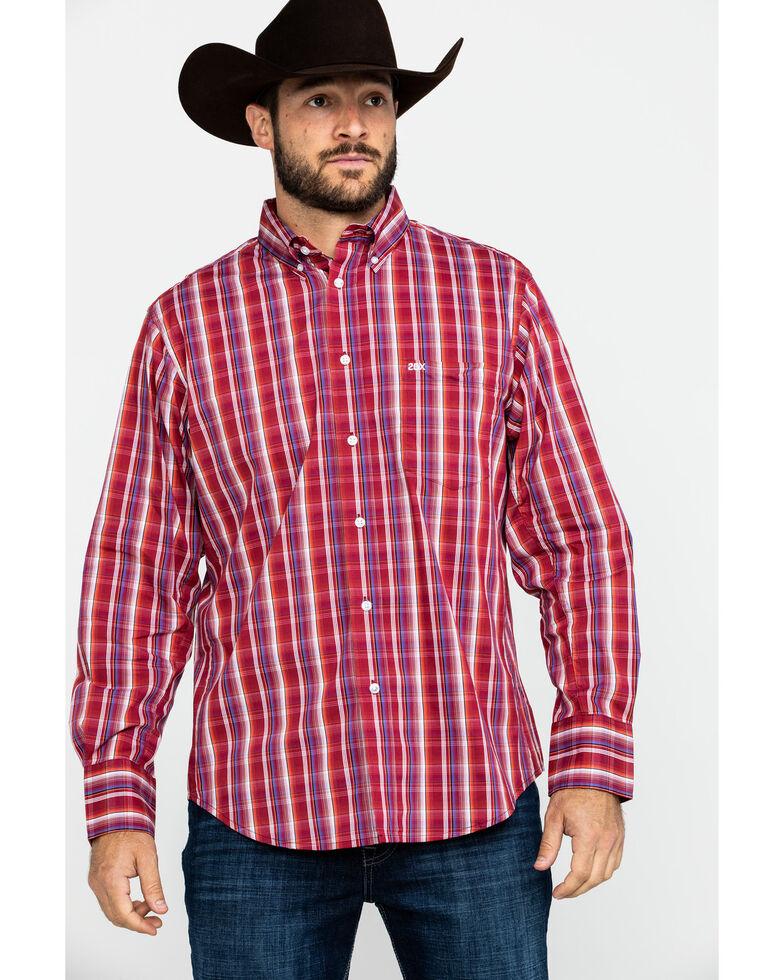 Wrangler 20X Men's Performance Multi Plaid Button Long Sleeve Western Shirt , Burgundy, hi-res
