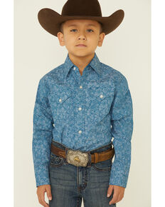 Ely Walker Boys' Navy Paisley Print Long Sleeve Snap Western Shirt , Navy, hi-res
