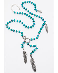 Shyanne Women's Triple Feather Beaded Necklace, Silver, hi-res