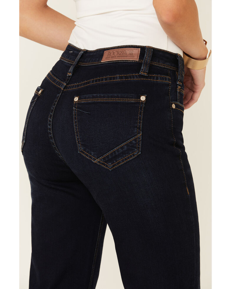 Rock & Roll Denim Women's Dark High Rise Trousers, Blue, hi-res