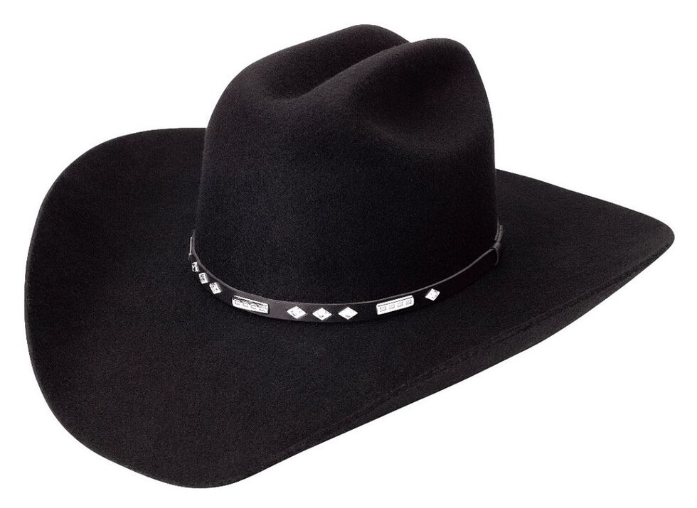 Silverado Fancy Black Wool Felt Cowboy Hat, Black, hi-res