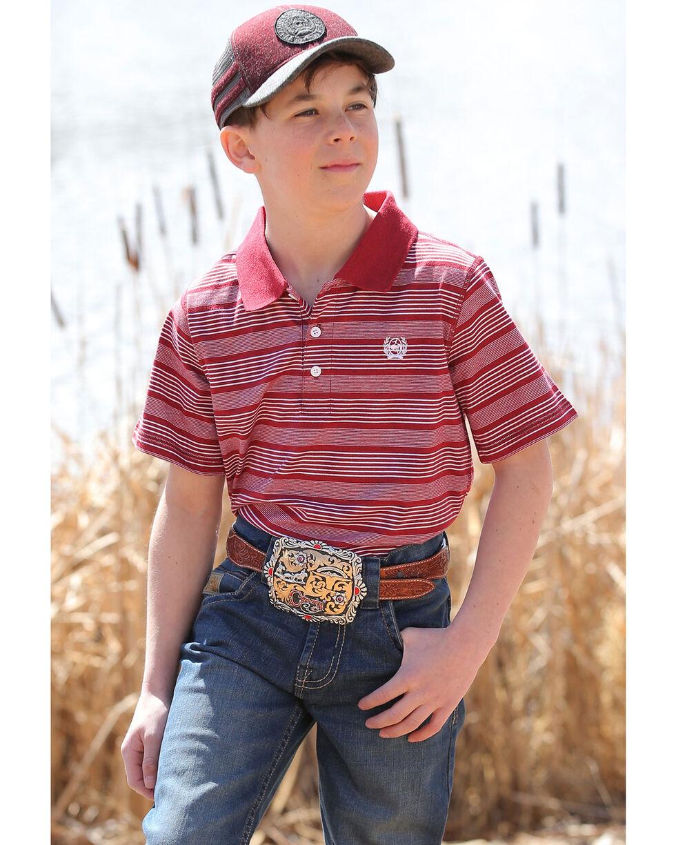 Cinch Boys' Striped Yarn Dyed Short Sleeve Polo Shirt , Burgundy, hi-res