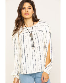 Wrangler Women's Ivory Aztec Stripe Slit Sleeve Top, Ivory, hi-res