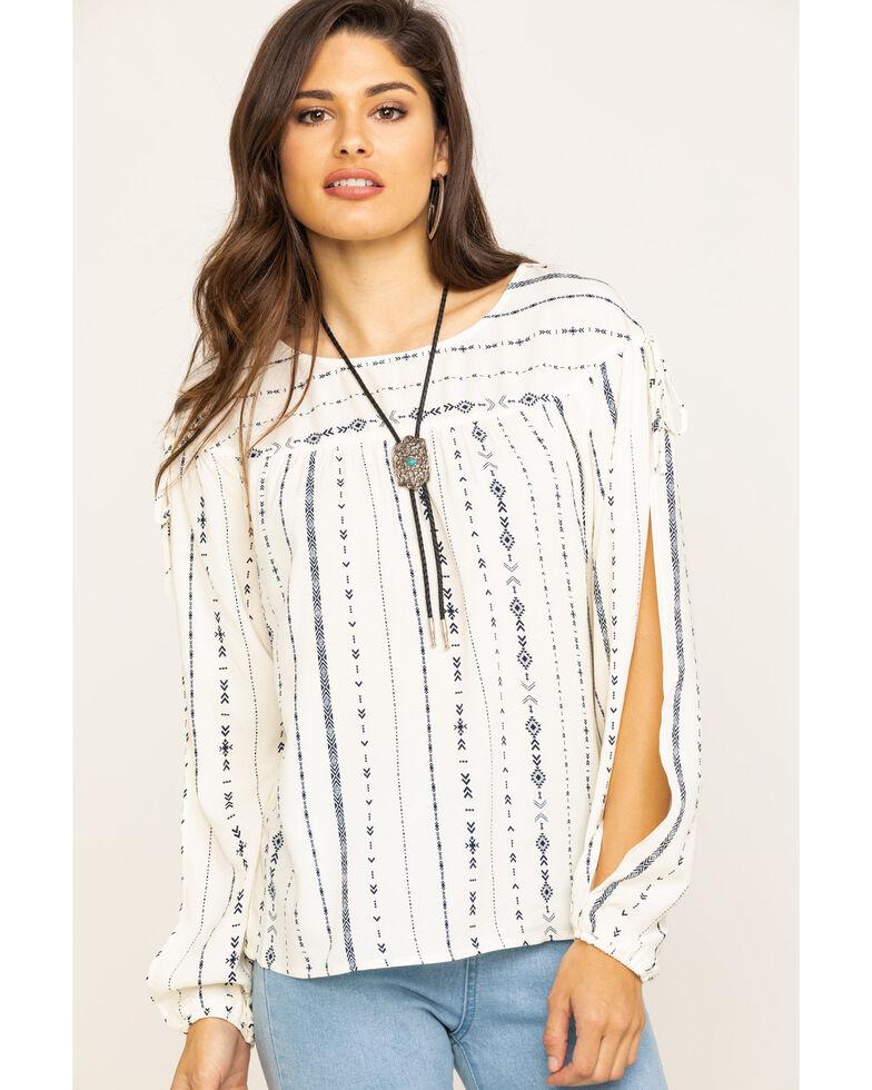 Wrangler Women's Ivory Aztec Stripe Slit Sleeve Top, Ivory, hi-res