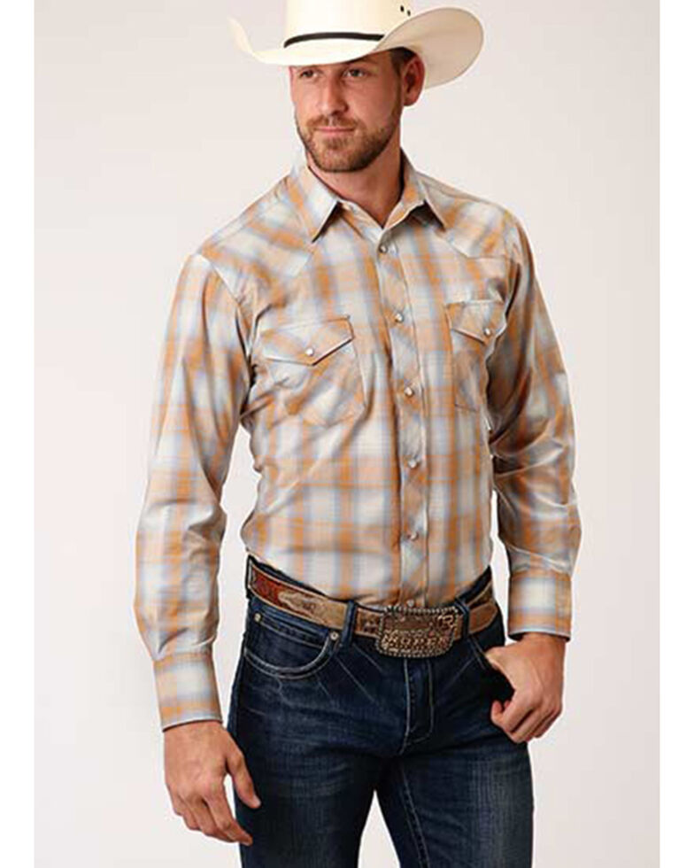 Roper Men's Classic Light Brown Plaid Long Sleeve Snap Western Shirt , Lt Brown, hi-res