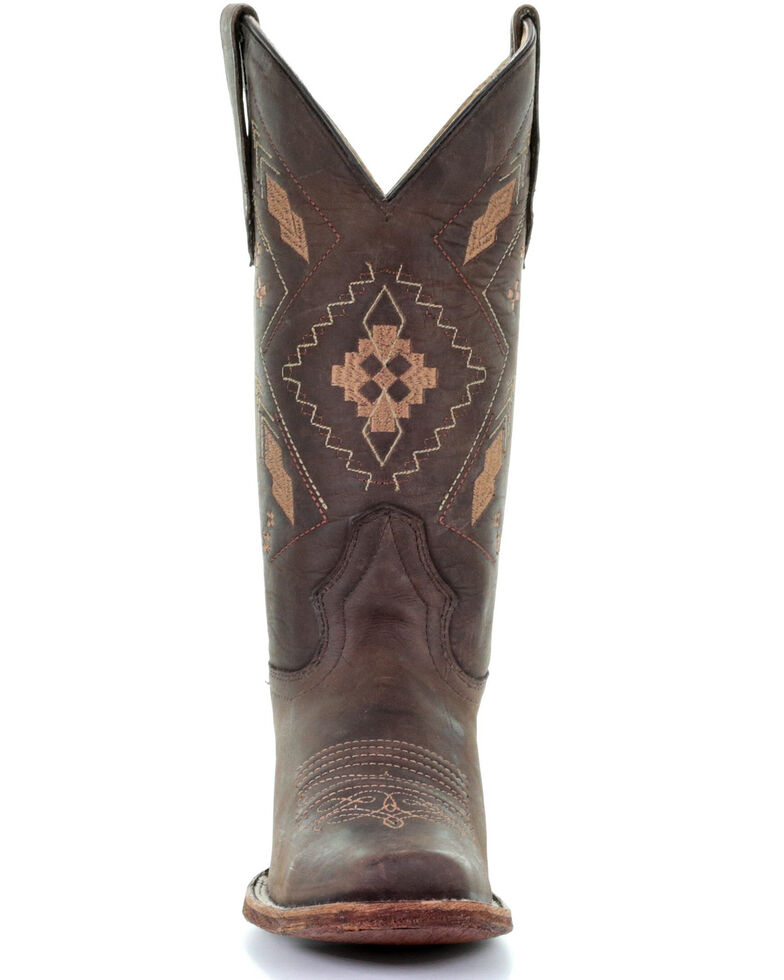 Circle G Women's Aztec Embroidery Western Boots - Square Toe, Chocolate, hi-res