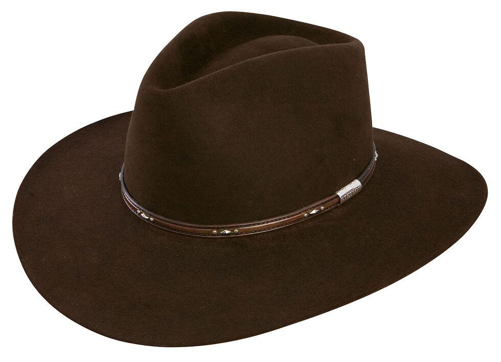 Stetson 5X Pawnee Fur Felt Cowboy Hat, Chocolate, hi-res