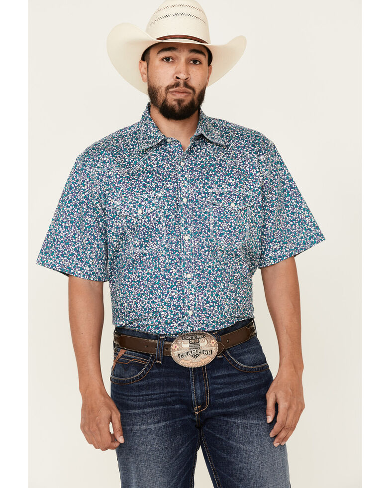 Wrangler 20X Men's Multi Geo Print Short Sleeve Snap Western Shirt , Multi, hi-res