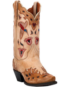 Dan Post Women's Bone Hummingbird Wingtip Cowgirl Boots - Snip Toe, Tan, hi-res