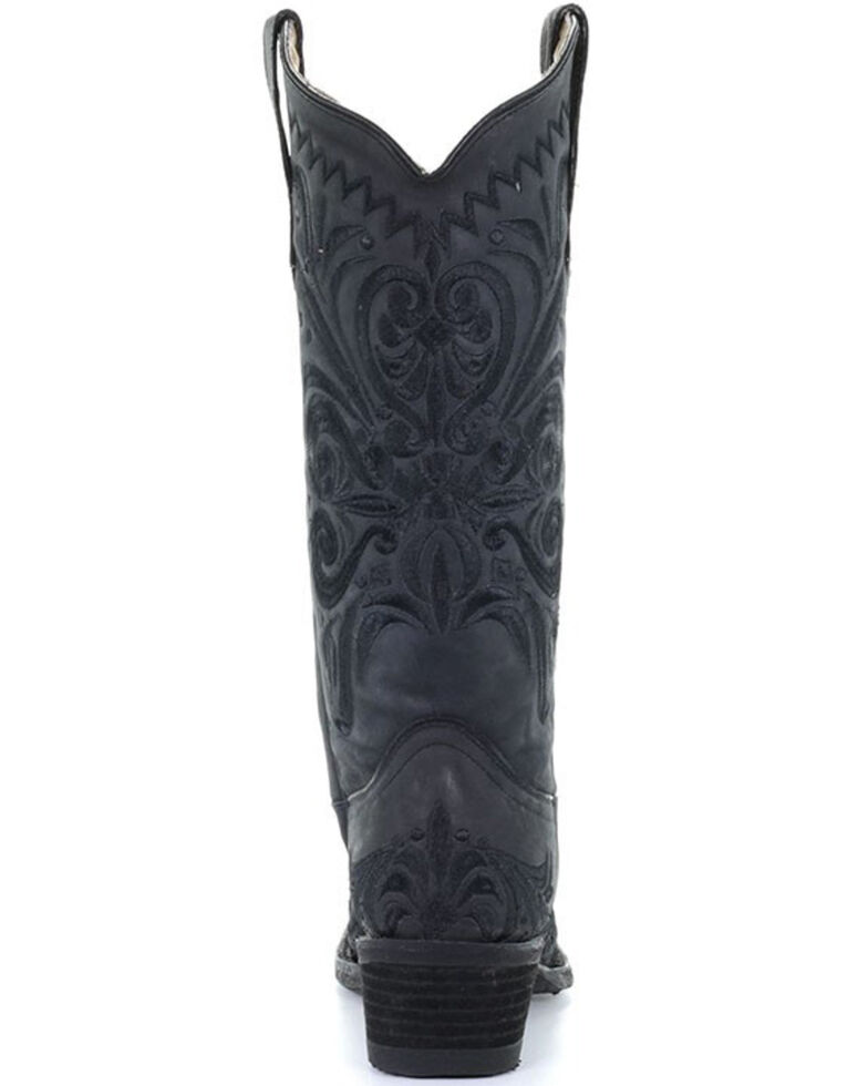 Circle G Women's Black Filigree Western Boots - Snip Toe, Black, hi-res